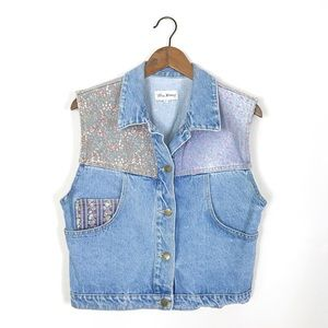Vintage | 90's Floral Patchwork Denim Vest